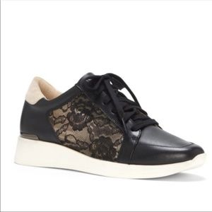 Louise et Cie black leather and lace sneakers